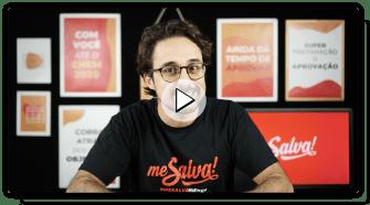 Imagem capa do vídeo com o professor Sincerão ao centro vestindo uma camiseta preta com o logo do Me Salva!